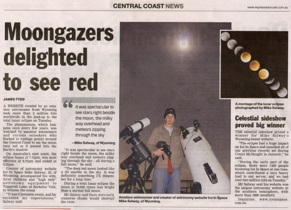 Article in the Express Advocate after the Eclipse