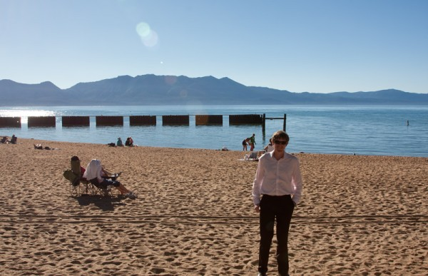 Mike on the shore of Lake Tahoe