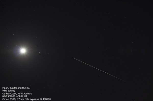 Jupiter, the Moon and the ISS