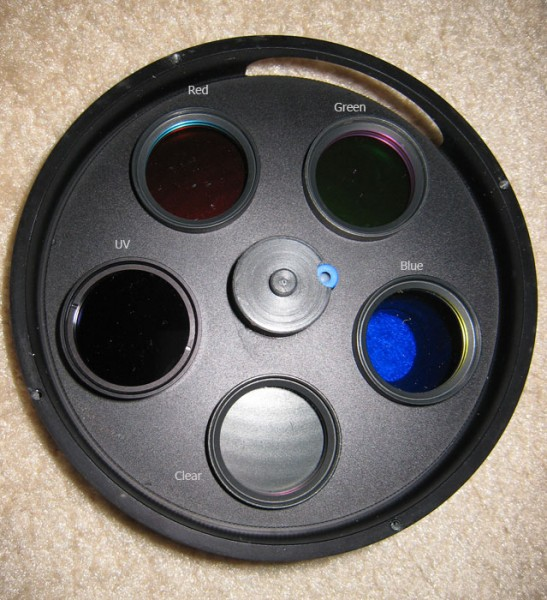 Atik 5-position Manual Filter Wheel (opened) with Astronomik RGB Type II Filters