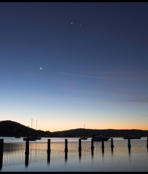 Jupiter and Venus, with Crescent Moon