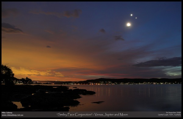 Smiley Face Conjunction - Jupiter, Venus and the Moon