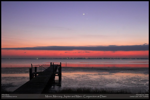 Moon, Mercury, Jupiter and Mars Conjunction at Dawn