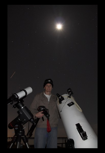Mike with his Equipment and the Full Moon