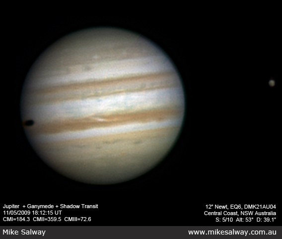 Jupiter, Ganymede and Ganymede's Shadow