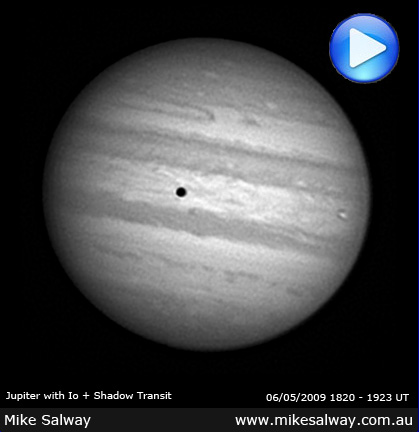 Jupiter, Io and Shadow Animation. Click to play.