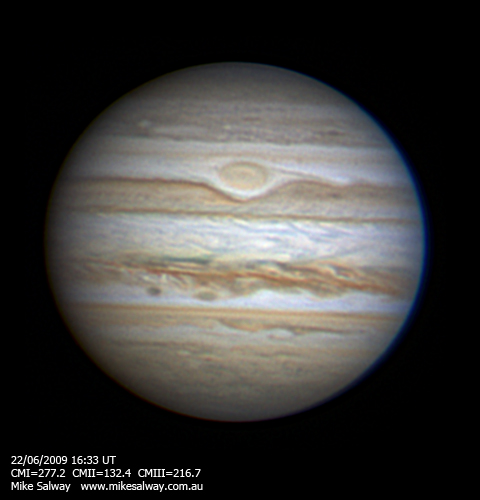 Jupiter, GRS and NEB spots and outbreak