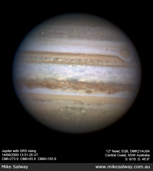 Jupiter at Opposition, with the GRS rising