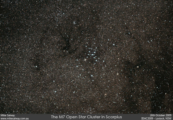 The M7 Open Star Cluster in Scorpius. Click image for larger version.