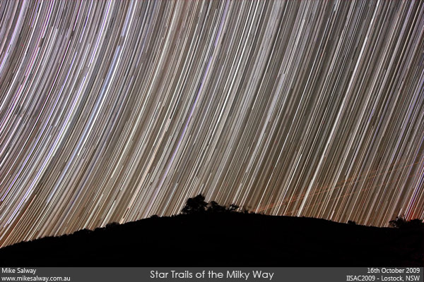 Star Trails of the Milky Way Setting. Click the image to download a large version.