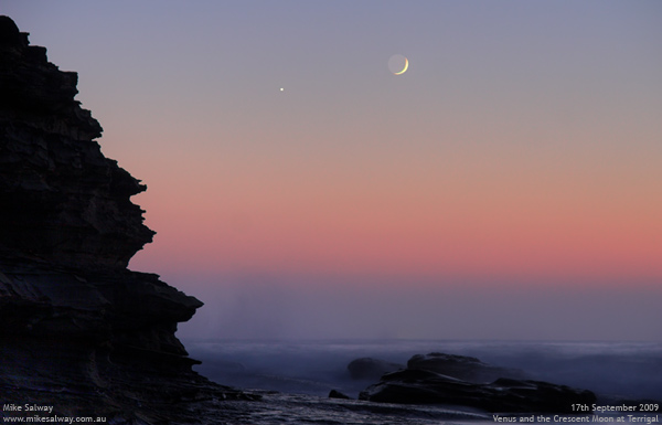 Venus and Crescent Moon at Terrigal. Click for larger image.