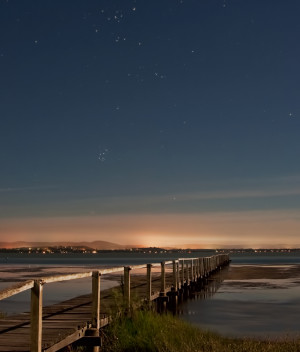 Long Jetty Under Moonlight - the moonlit landscape