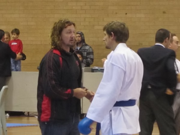 Mike receiving some last minute coaching from Shihan Lliam Worthington