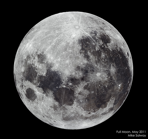 May 2011 Full Moon in Black and White