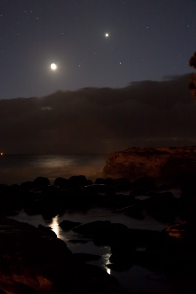 Moon, Venus and Mercury over Avoca Beach