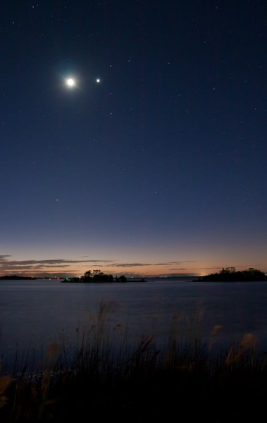 Crescent Moon and Four Planet Conjunction, August 13 2010