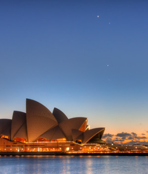 Sydney Opera House and Planetary Conjunction