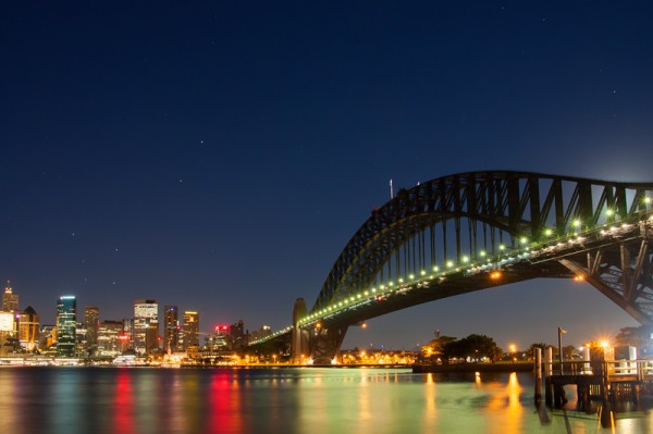 Harbour Bridge and the Southern Cross over the City