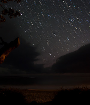 The Night Sky Star Trails over Kioloa Beach