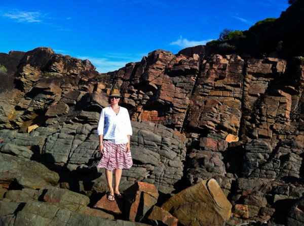 Kate near the rock pool at Fingal Bay