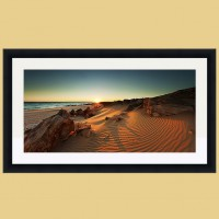 East Beach Sunrise example with White Mat, Black Frame