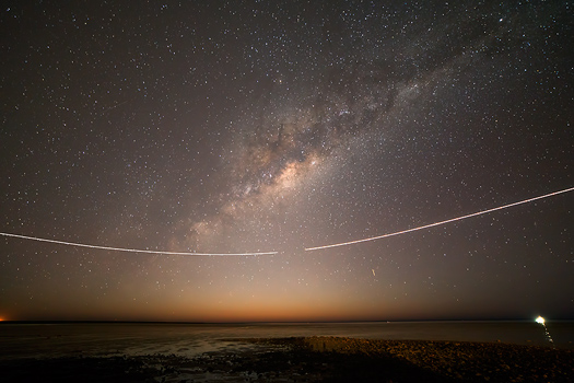 Milky Way and Planes over Town Beach, Broome