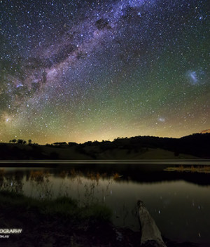 Milky Way and Magellanic Clouds over Lostock Dam