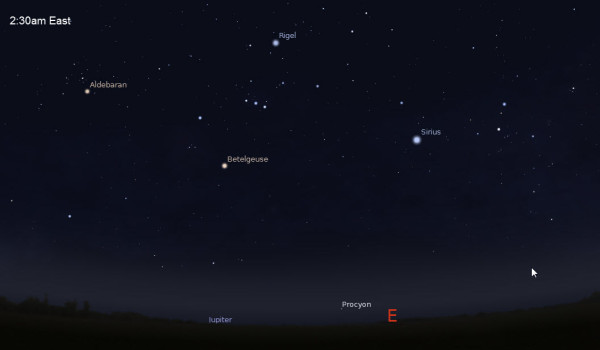 Sky Simulation facing East at 2:30am (using Stellarium)
